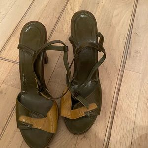 Marc Jacobs army green yellow platform sandals
